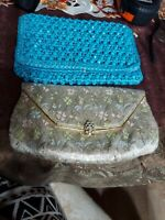 Clutch Vintage Blue Beaded & Fabric Floral Cocktail Evening Purse Women's lot 2