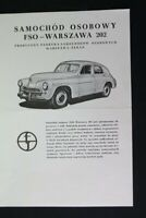 altes Prospekt Werbung Samochod Osobowy 202  M Sammler old vintage retro