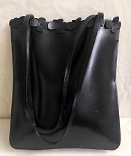 Rare FURLA Black Leather Shoulder Bag Purse Carved Flowers Trim Italy
