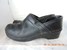 "Sanita women's black leather upper 2"" heel professional slip on clogs shoes 38"