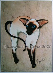 Siamese cat art print large sealpoint from original painting by Suzanne Le Good