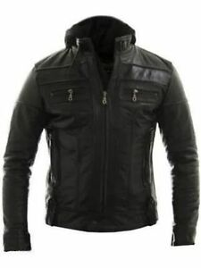 Mens Biker Motorcycle Slim Fit Real Leather Jacket with Detach Hood