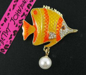 Lovely Betsey Johnson orange Crystal Rhinestone Tropical Fish Brooch Pin Gift