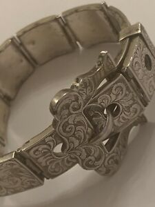 Fine Victorian Sterling Silver Engraved Panel Belt Buckle Bracelet George Unite