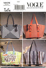 VOGUE SEWING PATTERN 9178 LINED BAGS, TOTES W/ CONTRAST FABRIC & SNAP CLOSURE