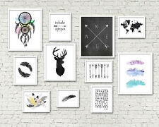 Set of 11 TRIBAL NORDIC GALLERY arrows feathers popular nordic wall art prints