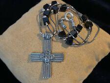 Silpada Sterling Silver Cross Black Onyx Bead Necklace