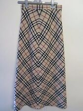 Genuine Burberry Nova Check Long Wool Skirt Size S UK 8 Euro 36