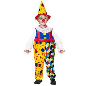 KINDER CLOWN KOSTÜM & HUT Karneval Fasching Zirkus Party Jungen Overall # 0755