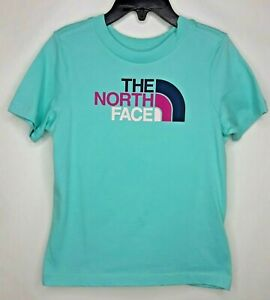 The North Face Little Girls NEW Mint Blue Navy Logo Graphic S/S T-Shirt Top