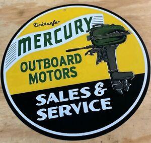 """Mercury Outboard Motors Sales & Service 12"""" Metal Tin Aluminum Sign"""