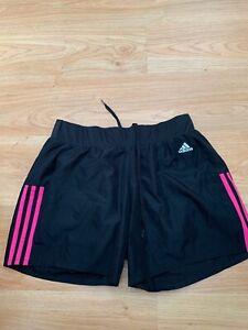 Medium Women's Adidas 6 inch Run Running Gym Shorts in Black Pink / Bargain 99p