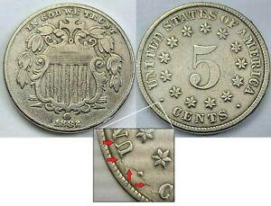 1882 Shield Nickel - Better Detail - Die Crack/Break Error DT7*