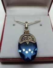 ✔JAYNES GEMS . 22CT TANZANITE 925 SOLID STERLING  SILVER +FREE CHAIN UK.