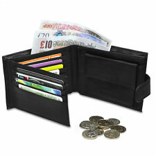Mens Luxury Soft Quality Leather Wallet Credit Card Holder Purse Black UK
