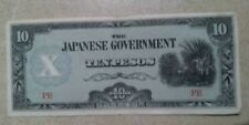 Philippines Old 10 pesos bill Japanese Government 10 PE nice condition