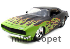 JADA 96323 1968 68 CHEVY CAMARO SS 1/18 MATTE BLACK WITH GREEN FLAME