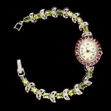 Mop 925 Sterling Silver Watch 8inch Unheated Oval Peridot Garnet Rhodolite Dial