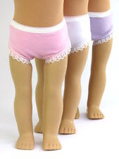 """3 pair Lace Trimmed Doll Underwear Fits 18"""" American Girl Doll Clothes"""