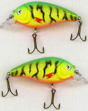 2 x Fladen Eco Mini Fat 7cm Floating Rattler Plug Lure 10g Firetiger Sea Coarse