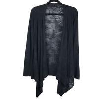 Eileen Fisher Open Knit Merino Wool Black Open Cardigan Size Medium