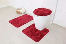 Hotel Collection 3 Piece Premium River rock Bath rug set 100%Polyester(Burgundy)