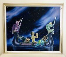 "Tiki Lizard Outsider Art Fantasy Creatures Lemur Jungle Boat 21 X 26"" Canvas"