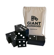 Get Out!™ Giant Wooden Dominoes 28-Piece Jumbo Set Black Wood and White Numbers