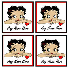 BETTY BOOP - PERSONALISED SET OF 4 COASTERS - ANY NAME - GIFT / PRESENT