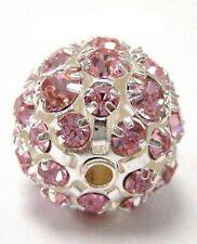Rhinestone Bead Ball Pink 15mm dia  hole size 2mm New  DIY Jewelry Craft Making
