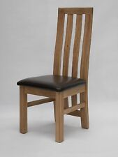 Saco Solid Oak Furniture Set Of Six Leather Seat Dining Chairs