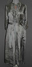 ANTIQUE FRENCH EDWARDIAN BLACK SILK SATIN DRESS SIZE 14