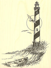 Large Lighthouse with Boat Wood Mounted Rubber Stamp Impression Obsession New