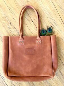 Parker Clay Merkato Rust Brown Full Grain Leather Made in Ethiopia Tote Bag