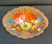 Vintage Brooch Pin Hand painted Russian wood flower pin brooch Multi Colorful