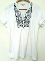 Crofts Barrow Womens White Blouse Size XL Embroidered Front Button Short Sleeve
