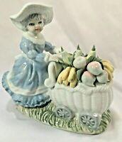 "Porcelain Victorian Girl Child Pushing Fruit Vending Cart 6""H x 6.75""L Figurine"