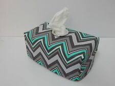 Charcoal Mint Chevron Tissue Box Cover With Circle Opening - Lovely Gift Idea