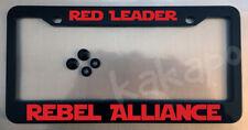 Red Leader Rebel Alliance Star Wars Fans Glossy Black License Plate Frame + Caps