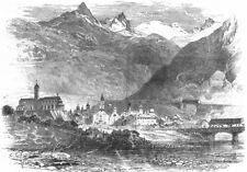 SWITZERLAND. Brieg, foot of Simplon 1891 old antique vintage print picture