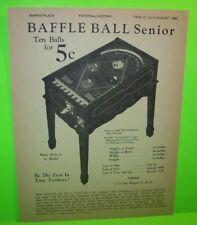 Pinball Machine AD Baffle Ball Senior D. Gottlieb & Co Marketplace Magazine 1981
