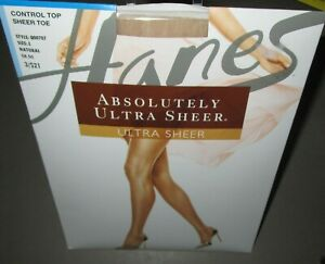 HANES~Size E~707~Natural Absolutely Ultra Sheer Control Top Pantyhose