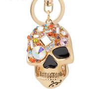 Skull Keychain with Rhinestones Keyring Shiny Fashion Key Chain Ring Fob Pendant