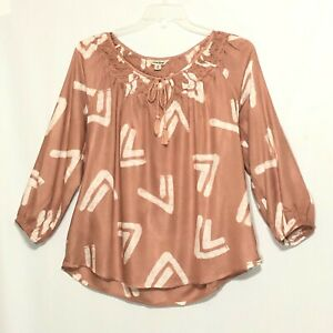 Lucky Brand Blush Pink Long Sleeve Keyhole Neck Peasant Style Top M - L