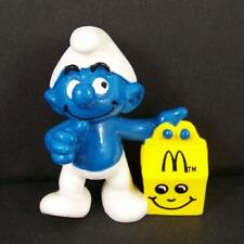 Rare Vtg 1997 European McDonalds Smurf Figure Happy Meal Yellow Box PVC Toy EXC