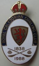 Royal Caledonian Curling Club Pin 150 Years Gold Enamel 1838 - 1988 Kirkwood