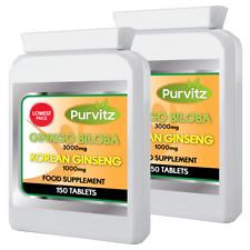 Ginkgo Biloba 3000mg y Ginseng Coreano 1000mg-300 Tabletas Salud Energía GB