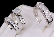His and Hers Matching Engagement Wedding Band Ring Set 925 Sterling Silver 4-13