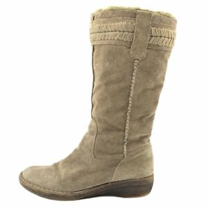 Nine West Womens Winter Boots Beige Mid Calf Faux Fur Wedge Leather Pull Ons 8 M