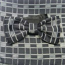 ELEGANTE PAPILLON COMPLETO A FAZZOLETTO SETA SILK NERO BIANCO OPTICAL BOW TIE